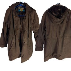 Wilson thinsulate leather jacket brown hooded